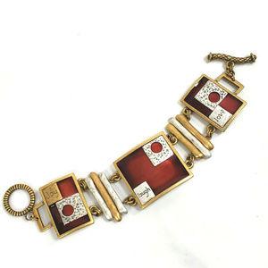 Chico's Gold Tone Bracelet Joy Laugh Love Toggle